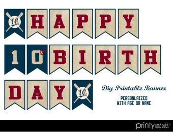 Vintage Baseball Birthday Banner - Printable