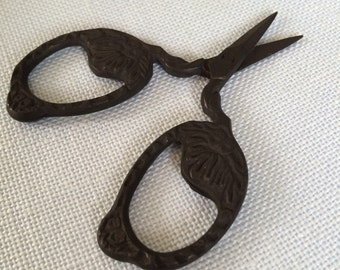 dark matte black ACORN in oak leaves motif embroidery scissors craft scissors gift under 15