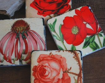 Red and Pink Floral stone coasters