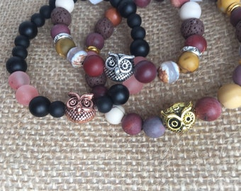 Onyx and cherry with OWL gold pink agate gemstones bracelet