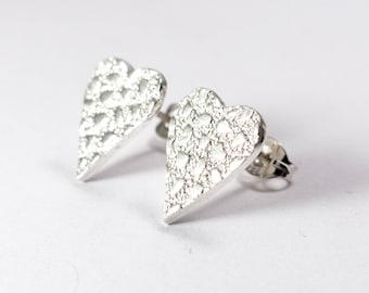 Silver Heart Earrings - Bridesmaid Earrings - Silver Stud Earrings - Sparkly Earrings - Bridesmaid Gift - Bridesmaid Jewelry Bridal Earrings