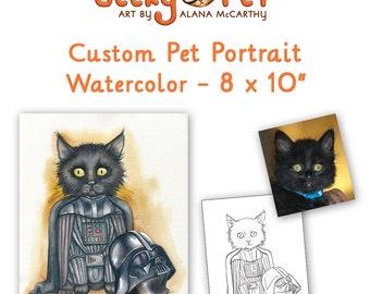 "Custom watercolor cat or dog portrait as superhero or character 8 x 10"""