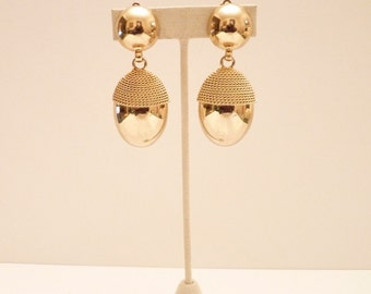 Gold Dangling Earrings with Mesh Trim - 2 1/2 Inches
