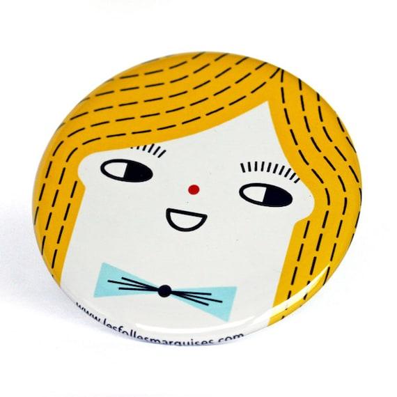 Pocket mirror Cloclo - cute accessory - mini bag mirror kawaii - boy illustration - 56 mm