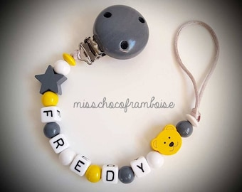 Personalized pacifier clip star + bear wooden beads