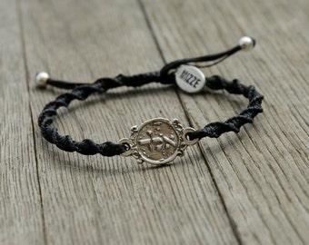 Men's Adjustable 72 Names of God Black Bracelet for Protection