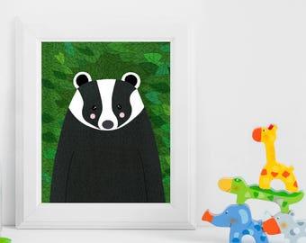 Badger, Woodland Animals, Woodland Critters, Nursery, Animal Wall Art, Kids Room, Animals, Print