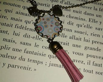 Long necklace - pendant - tassel - 'circles and flowers'