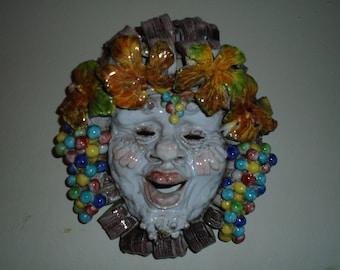 "Vintage Italian Dionysus ""Wine God""  Ceramic Fruit Mask 12"" x 11"""
