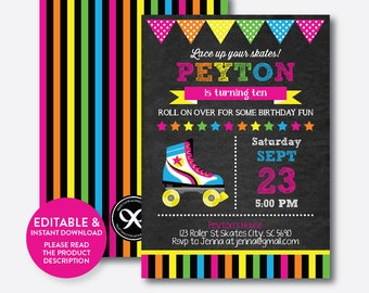 Instant Download,  Editable Roller Skating Birthday Invitation, Roller Skating Invitation, Roller Skate Invitation, Chalkboard (CKB.548)