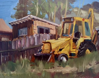 Painting of a Bulldozer in Plein Air
