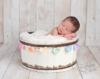Rainbow Heart Garland/ Pastel Rainbow Heart Garland/ Rainbow Baby/ Baby Shower Banner/Rainbow Nursery/ Gender Reveal / Crochet Mini Heart