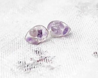mini studs amethyst earrings purple jewelry stone teardrop earrings birthstone jewelry resin everyday earrings Кю28