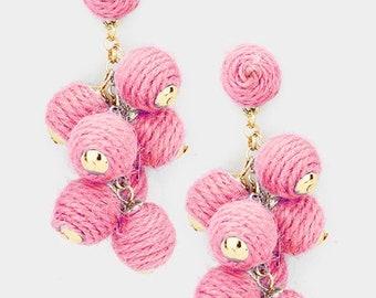 Thread Ball Cluster Vine Dangle Earrings - Pink