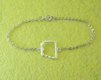 925 Sterling Silver Map Bracelet, Custom Arizona Bracelet, Personalized Map Bracelet, Anniversary Gift, Arizona jewelry,custom map jewelry