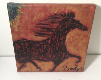 "RonGo Original Art - Outsider Art Folk Art painting of horse  10""by 10"""