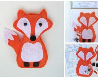 Learn to Sew Kit for Kids - Friendly Fox in Orange
