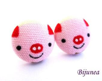 Pig earrings - Black pig stud earrings - Animal earrings - Pig studs - Pig post earrings - Pig posts sf1135