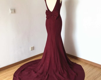 Mermaid Backless Burgundy Chiffon Long Prom Dress 2017
