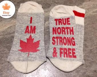 I Am Canadian ... True North Strong & Free (Socks)
