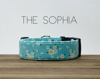 "Blue, White & Yellow Vintage Floral Dog Collar ""The Sophia"""