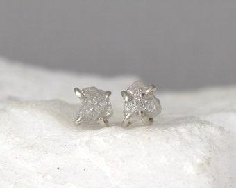 14K White Gold 1 Carat Raw Diamond Earrings - Raw Uncut Rough Diamond Earring Stud - 14K Gold  - Studs - Made in Canada