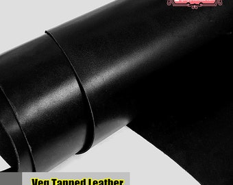 Italy Vegetable Tanned Leather, Black of Leather Off Cuts, Italian Genuine Cowhide Leathercraft [Thickness: 2/1.5/1mm] L014