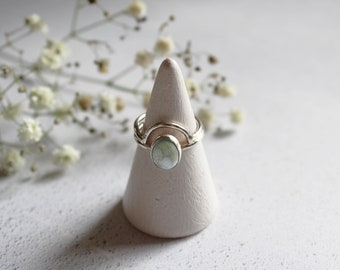 Handmade Sterling Silver Howlite Stacking Ring Duo
