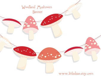 DIY Printable Woodland Mushrooms Banner PDF digital download Scrapbook Party Decorations