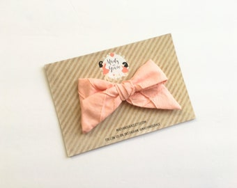 Hand Tied Ellie Fabric Bow in Desert Pink - Fabric Bow Headband/Hair Clip
