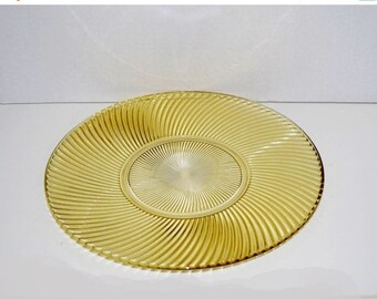 Memorial Day Sale Perfect Depression Glass Diana Ribbed Swirl Pattern 11-1/2 Inch Amber Sandwich Platter Tray by Federal Glass Company 1937-