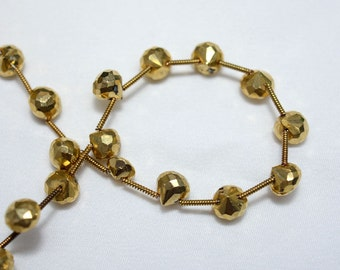 Golden Pyrite Faceted Onion Shape Beads, Pyrite Onion Beads Gemstone, 7mm Approx 4 Inch Strand