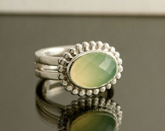 Green Chalcedony Double Sterling Silver Ring, Rose cut Chalcedony, Ready to Ship, Size 7 1/2 to 8, can be sized