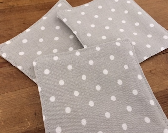 Grey / White Polka Dot Coasters, Fabric Coasters, Rustic Coasters, Drink Coasters, Mug Rugs, Farmhouse Chic