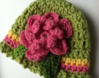 Crochet Baby Hat with Flower, Apple Green Hat with Flower, Baby Hat, Newborn Hat with Flower, Crochet Baby Hat, Newborn Hat, Infant Hat
