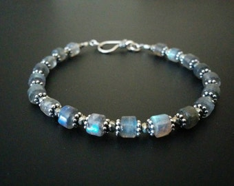 Bali Handmade Sterling Silver, Labradorite, and Pyrite Bracelet