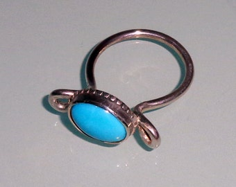 Turquoise Sleeping Beauty Sterling Silver Bezel Ring