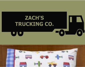 Semi Truck Vinyl Wall Decal Custom Personalized Name