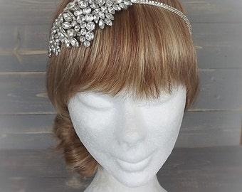 Statement Vintage 1940's Marquise Diamante Side Detail Bridal Headpiece, Vintage, Weiss, Rhinestone, Wedding, Bridal, Headband, Silver