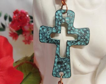Beautiful turquoise cross with red coral and glass crystal bead