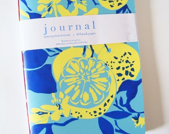 Hand Screen Printed Oranges Journal