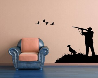Hunter Vinyl Decal, Hunting Wall Decal, Bird Hunter Sticker, Duck Dog Decal, Pheasant Hunter Vinyl Decor, Wall Decal, Home Decor