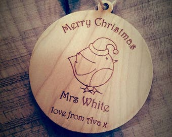 Personalised Teacher Christmas Tree Decoration, Teacher gift