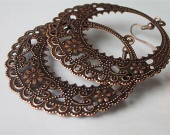 Floral Filigree Earrings, Gypsy Earrings, Filigree  Hoop, Large Round Hoop, Lacy Metal Filigree, Antiqued Copper Dangle Earrings