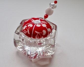 Salt Cellar Pincushion - Red and White Fabric - Cherries - Saltcellar