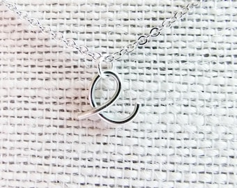 Initial E Necklace, Letter E Necklace, Silver Initial Necklace, Cursive Letter Necklace, Letter Necklace, Initial Necklace, Monogram, Wire