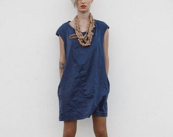 A line dark blue stone washed cotton denim mini dress, jeans everyday casual blue mini dress, summer jeans dress