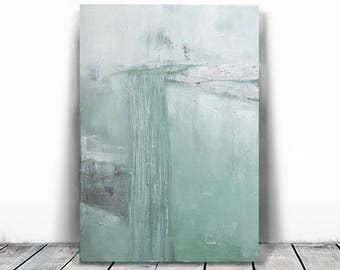 Abstract Painting, Contemporary Wall Art, Modern Art ,white art, mint and silver leaf, minimalist abstract, green and white, landscape