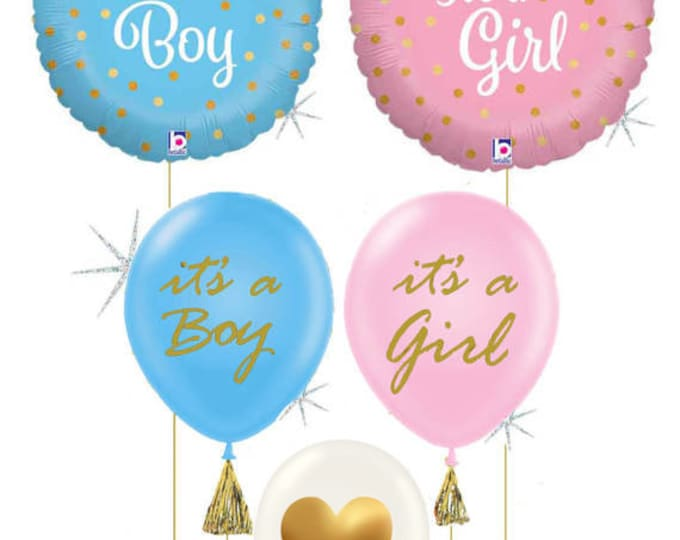Baby Shower Balloon Decorations,  It's a Girl Balloons, It's a Boy, Boy Balloons, Gender Reveal Decorations, Baby Shower Decor
