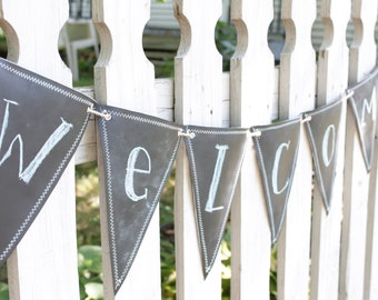 Chalkboard  Fabric Banner, Pennant 15 Triangles, reversible, double-sided